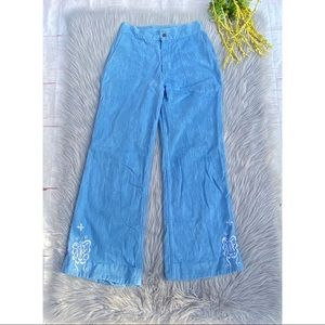 1970s Light Blue Wide Leg Jeans Embroidered